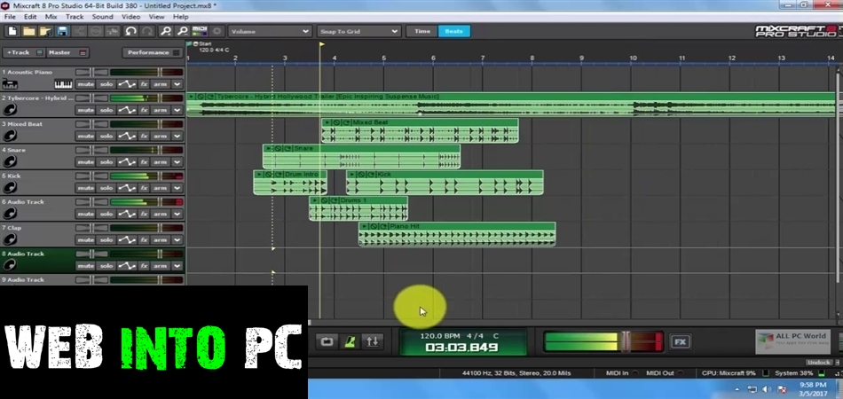 Acoustica Mixcraft Pro Studio 2020-web into pc